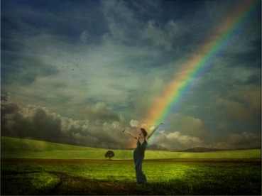 Woman with Rainbow